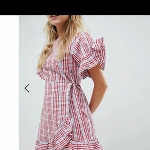 ASOS Plaid Wrap Ruffle Dress gingham mini blue red